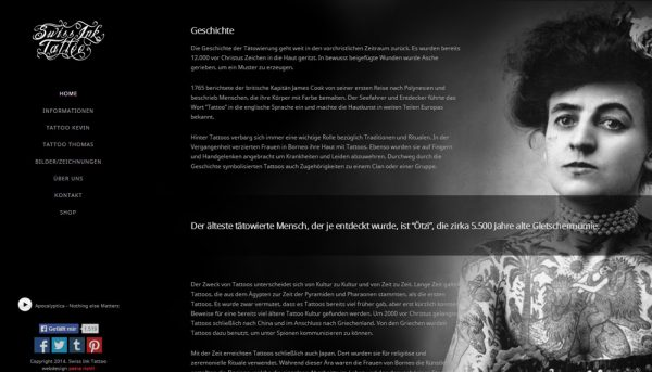 New Website for Tattoo Studio – Webdesign Portfolio