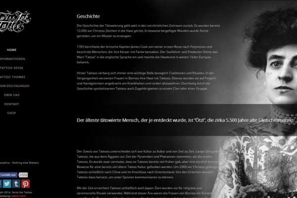 New Website for Tattoo Shop - Webdesign Portfolio