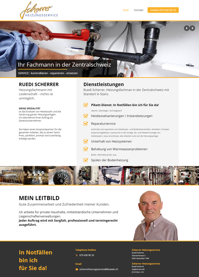 New Website for Repairman - Webdesign Portfolio