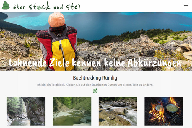 Guided Hiking Tours Website Design, green brown color theme