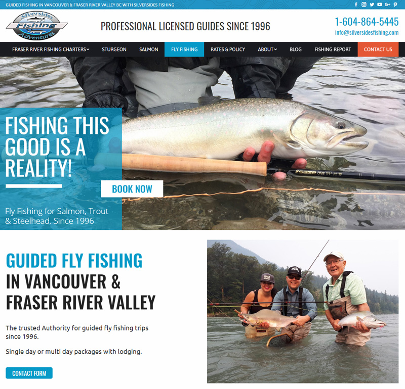 fishing charter website design, freelance graphic designer vancouver