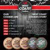 sell sheet design for nutritional cookie, red / black color color theme
