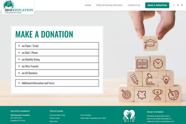 Education Foundation Website Design Screenshot by Petra Richli