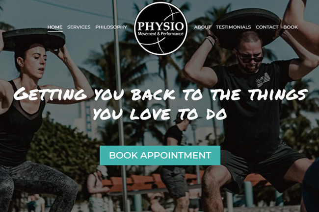 Physiotherapist Website Design Portfolio
