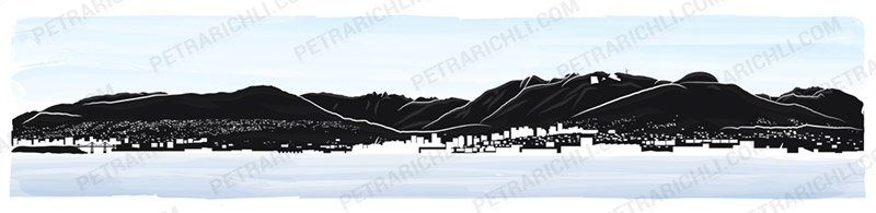 North Shore Mountains Illustration colored